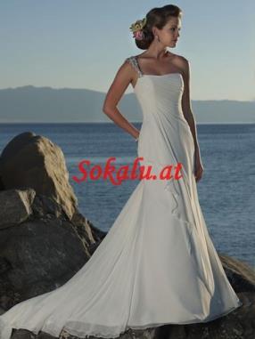 Herzausschnitt Riemen Eine-Schulter Chiffon Strand Brautkleider