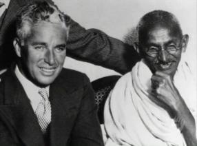 Charlie Chaplin and Mahatma Gandhi meet.