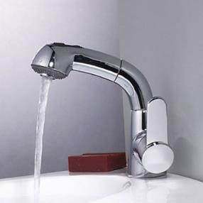 Contemporary Single Handle One Hole Centerset Pull-out Spray Bathroom Sink Faucet--Faucetsmall.com