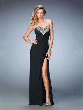 Black with Deep Sweetheart and High Side Slit Chiffon Prom Dress PD12262
