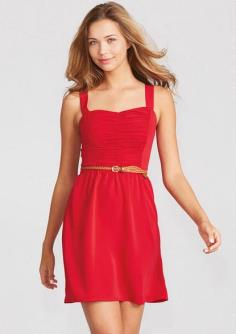 Ruched Front Dress - Sleevess dress with ruched front detail on bodice. Adjustable and removable belt. Elastic waist and smocked back for comfortable fit. Cotton or nylon or poly S-L 34'' long
