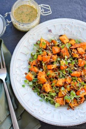 Roasted Acorn Squash, Microgreens and Quinoa Salad Recipe - ChefDeHome.com