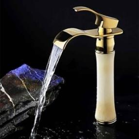 Single Handle Retro Waterfall Brass Ti-PVD Bathroom Sink Faucet--Faucetsdeal.com