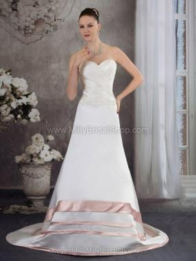 A-line Sweetheart Satin Court Train Ruched Wedding Dresses