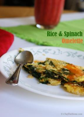#Rice and #Spinach #Omelette - #Veggies, Starch and #Protein - Three-In-One