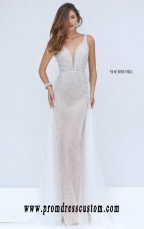 aa1ba37c4eb 2016 Beaded V-Neck Ivory Bodice Sherri Hill 50188 Long Sheer Slim Prom  Dresses