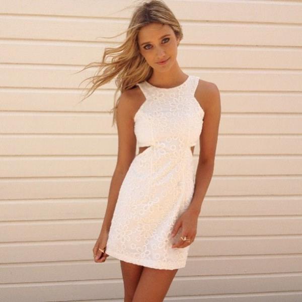 Super Y Ed Cut Out Mini Dress Featuring A Daisy Pattern Chiffon Like Overlay